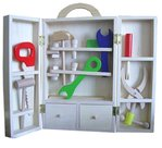 Houten gereedschapskist voor kinderen.