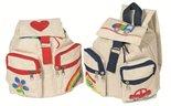 Toys Pure katoenen rugzakjes in de kleuren blauw en rood