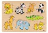 Goki's houten knoppuzzel met dieren uit de dierentuin.