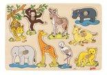 Houten knoppuzzel 'Afrikaanse jonge dieren' van Goki