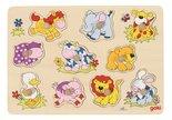 Houten knoppuzzel van kleine dieren - Goki