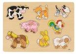 Houten knoppuzzel boerderijdieren van Goki