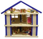 Houten Poppenhuis Blauw | Charl's Toys