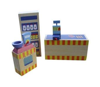 Charl's Toys  - Houten poppenhuis meubels - Supermarkt 4-delig