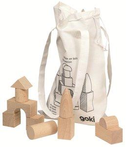 Goki - 45 houten blokken in een katoenen tas