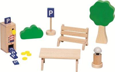 Goki - Houten poppenhuis accessoires - Parkeerplaats