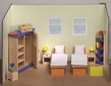 Houten Slaapkamer Meubels : Goki houten poppenhuis meubels slaapkamer delig