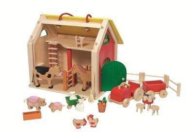Goki - Houten boerderij met dieren en accessoires - Reismodel