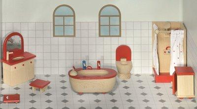 Badkamer Voor Poppenhuis : Goki houten poppenhuis meubels badkamer delig