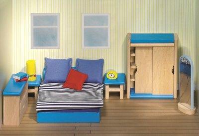 goki houten poppenhuis meubels blauw slaapkamer 14 delig