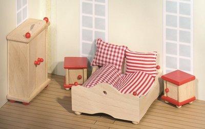 Goki - Houten poppenhuis meubels - Slaapkamer 4-delig