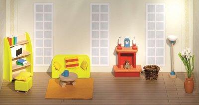Woonkamer Houten Meubels : Goki houten poppenhuis meubels woonkamer delig