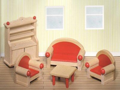 Goki houten poppenhuis meubels woonkamer 5 delig for Houten meubels woonkamer