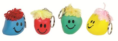 Smiley stressbal aan sleutelring