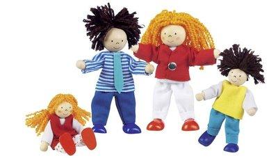 Goki - Set van 4 flexibele poppenhuispopjes - Lifestyle familie