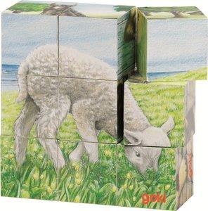 Cause - Houten blokpuzzel met 9 blokken - Boerderij dieren'