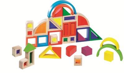 Goki - Blokkendoos 'regenbogen en vensters', 37-delig