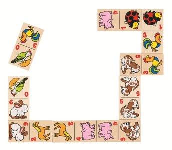 Goki - Houten Dominospel in een kistje - Dieren