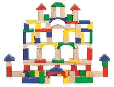 Goki - Ton met 100 houten blokken!