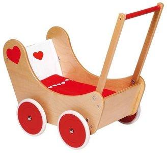 Goki - Houten poppenwagen met beddengoed - Blankhout met rode wielen
