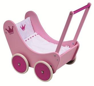 Goki - Houten poppenwagen met beddengoed - Roze