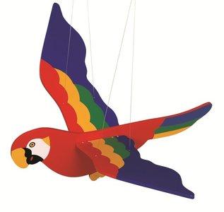 Houten decoratie swingfiguur - Papegaai