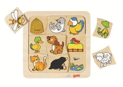 Goki - Houten puzzel 'wie woont waar?