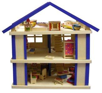 Houten Poppenhuis Blauw   Charl's Toys